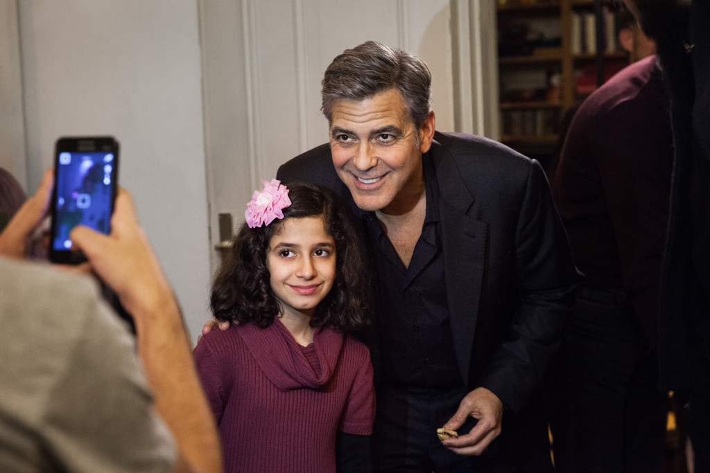 Amal and George Clooney Speak to Syrian Refugees in Berlin